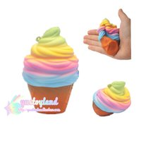 1 pz Jumbo Kawaii Carino Squishy Arcobaleno Gelato Super Slow Rising Pane Panino Torta Dolce Fascino Profumato Kid Fun Toy Regalo All'ingrosso