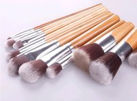 Wholesale Goat Bags - Cosmetics Maquiagem Profissional 11 Pcs Professional High Quality Bamboo Makeup Brush Set Goat Hair Cosmetic Brushes Kit with Bag Dhl 500