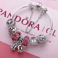 Wholesale Pandora Silver Bells - top quality 1:1 Christmas bell pink pandora bracelets sterling silver 925 bracelets full package gifts for Thanksgiving Valentines Day