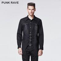 Wholesale Punk Rave Shirt - Wholesale-Punk Rave Autumn And Winter Latest Style Handsome Punk Shirts Gothic Style Men Bat Shirts With Collar Belts Decoration Shirts
