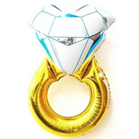 Wholesale Cake Ring Chinese - 43 Inches Funny Big Diamond Ring Balloon 2015 New Fashion Party Wedding Decorations Diamond Ring Balloon Make a Proposal Wedding Gifts