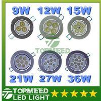 Wholesale Spot 12v Switch - Led Ceiling Light 36W 27W 21W 15W 12W 9W Led CREE Resessed downlight spotlight Lamp AC 85-265V Led spot Down Lighting +Driver 2020
