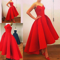 Wholesale Ball Gowns Short Front - Red Prom Dress 2016 Sweetheart Short In Front Long Back Pageant Dresses Floor Length Satin Long Elegant Prom Dresses Custom Made Party Gowns