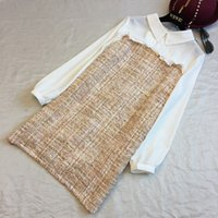 Spring Fashion Bright Patchwork Schlank Hit Die Farbe Revers Neck Tweed Langarm Kurz Casual Vintage Shirt Kleider Frauen