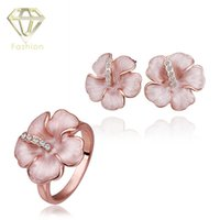 Wholesale Stylish Fashion Rings For Women - Fashion Stylish Inlaid Stone Pink Black Flower Shaped Ring&Earrings 18K Rose White Gold Plated Jewelry Sets for Women