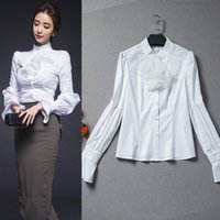 Wholesale Victorian Collar Ruffle - white victorian shirt long lantern sleeve blouses with ruffles stand collar slim ladies office shirts low prices