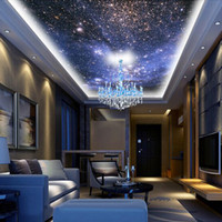 Wholesale Wood Space - Wholesale- Customized Photo Wallpaper Star Planet Universe Space Planet Wall Paper Ceiling Living Room Bedroom 3D Wall Mural Wallpaper