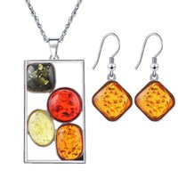 Wholesale Amber Jewellery - Pendant and Earring Sets Insect Amber Jewelry Set Sieraden Sets Parure Bijoux Femme African Necklace Jewellery Set for Wommen