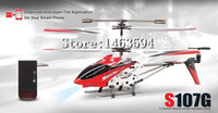 Wholesale Alloy R C Helicopter - Original 3.5CH RC Helicopter with gyro Radio Control Metal Syma S107G S107 alloy fuselage R C Helicoptero Free Shipping A5