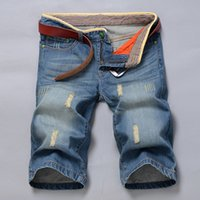 Wholesale Cargos For Cheap - Wholesale-Mens cargo short Denim shorts men thin section Cheap Shipping Summer cotton Short Jeans Trousers For Men 2015 men ripped jeans