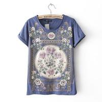 Wholesale Woman Flower Print Shirt Vintage - Hot 2016 summer tshirt cotton women Tops tee shirt femme t-shirt Women T Shirt Royal Flower Print Short Sleeve Plus Size Vintage