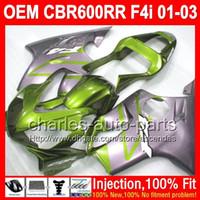 Wholesale Honda Cbr F4i Lights Fairings - OEM For HONDA CBR600 F4i Green grey CBR 600 F4i 600F4i 2001 2002 2003 L72256 Light green Injection FS CBR600F4i 01 02 03 01-03 Fairing