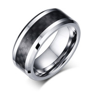 Wholesale china carbon black - 8mm Tungsten Steel Wedding Band Mens & Womens Tungsten Ring with Black Carbon Fiber Inlay Free Engraving