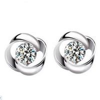 Wholesale Ears Rings - Wholesale Fashion Jewelry 925 Silver Crystal Flower Shape Ear Stud Earrings Ear Ring Pendant ED09