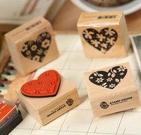 Wholesale Diy Promotional Gifts - 4 pcs set Vintage Themes Heart Shape Wooden DIY Stamp Set Student Prize Promotional Gift Stationery FOD
