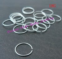 Wholesale Eyebrow Piercing 18g - Wholesale-Hoop Nose Ring Eyebrow Cartilage Ear Stud Plain Surgical Steel 18G 100pcs lot Hot Sale Cheaper Fashion Body Piercing Jewelry
