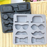 Wholesale Butterfly Trays - Creative silicone ice tray Chaplin hat beard gentleman style ice cube beard butterflies mould ice cube tray mold ice lattice