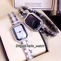 Wholesale Premiere Silver - Super Clone Luxury Brand Fashion Premiere Conch Dial H2132 H2163 Diamond Bezel Quartz Womens Watch Two Tone Ceramics Bracelet Lady Watch New