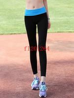 ingrosso donne che indossano pantaloni stretti di yoga-100pcs / lot liberano le donne calde di sport di trasporto libero che indossano i pantaloni di yoga Pantaloni di ginnastica di forma fisica pantaloni neri che funzionano calzamaglia sottili sottili