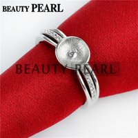 Bulk of 3 Pieces Ring Pearl Semi Mount Middle Layer Paved Zircon 925 Sterling Silver Settings