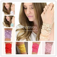 Wholesale Elastic Wristbands - New Womens Elastic Wide Lace Wristbands Bracelets for Women Ladies Girls Fashion Hand Accessories 7 Bright colors Free Shipping WHA72