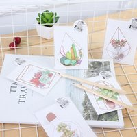 Wholesale flowers stories - Wholesale- 5pcs lot Kawaii Flower house story greeting card Plant flower card Bless greeting cards Stationery Envelope Message Card