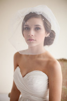 Wholesale Beaded Favors - Hottest Pinterest Blusher Veils Bridal Veils Ivory White Tulle Veils Bridal Accessories Beads 2015 Wedding Favors