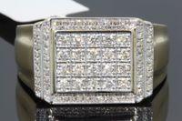 Wholesale Gold Band Pinky Ring - 10K YELLOW GOLD .66 MENS REAL DIAMOND ENGAGEMENT WEDDING PINKY RING BAND