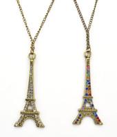Wholesale Eiffel Tower Sweaters - Vintage Style Retro Rhinestone Eiffel Tower Pendant Necklace Bronze Sweater Long Chain Necklaces Jewelry Wholesale 12 Pcs