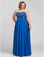 Wholesale Sexy Wear Bust Open - Royal Blue Plus Size Dresses Evening Wear Strapless Empire Beaded Bust Prom Dressess Chiffon Robe Formal Dress Open Back Mother of the Bride