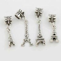 Wholesale Eiffel Jewelry - 4Styles Antique Silver Eiffel Tower Big Hole Beads Fit European Charm Bracelets Jewelry DIY Hot sell
