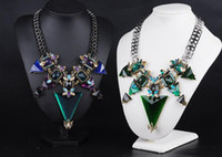 Wholesale Big Chunky Fashion Jewelry - New Fashion Jewelry For Women Big Triangle Rhinestone Statement Necklace Chunky Chain Crystal Choker Bib Necklaces Pendants