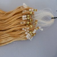 Versátil 28 '' 70cm Golden Yellow Micro Loop Anel Extensões de cabelo, 100 Strands Long Curly Ondulado Micro-loop Dica Nano Ring / Beads Hair Extensions