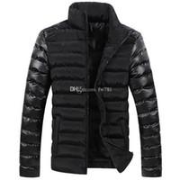 Wholesale Leather Coat Designs Men - New Arrival Men Winter Jackets Men's Coat leather sleeve splicing design down cotton padded jacket men