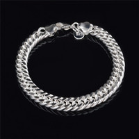 Wholesale Figaro Chain 8mm - 2015 New Design 6MM 8MM 10MM 925 Sterling silver Figaro chain bracelet Fashion Men's Jewelry Top quality free shipping