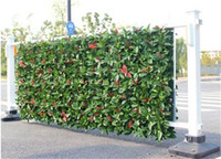 Wholesale Artificial Hedge Fence - 3 square meters Artificial Hedges Fake Fence Garden Plants Artificial Red Laurel Greenery Panels Garden Decoration Free Shipping