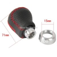 Momo Black Leather Red Stitched Car Gear Shift Knob Shifter Lever Universal Fit for Manual Transmission Drive