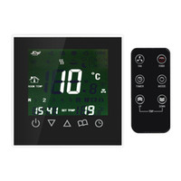 aquecimento do termostato ambiente venda por atacado-Freeshipping Programável termostato controlador de temperatura ambiente com sensor de aquecimento de rádio controle de tela LCD Touch Screen aquecimento de água semanal