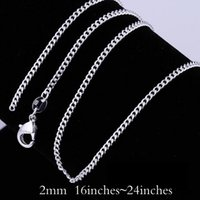 Wholesale china 925 jewellery for sale - Group buy High Quality mm Sterling Silver Curb Link Chains Necklace inches Fashion Jewelry Findings Charm Necklace Jewellery Lobster Clasp