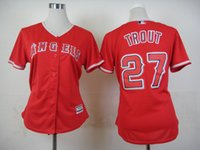 Wholesale Wholesale S Baseball Jersey - 2015 New Women Baseball Jerseys Angels #27 Trout Jersey Red White Color Stitched Size S-XXL Mix Order