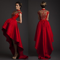 Wholesale Gold Satin Evening Gowns - Krikor Jabotian 2015 Evening Dresses Red High Neck Gold Appliques High Front and Low Back Satin Evening Gowns
