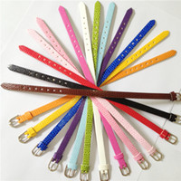 Wholesale Leather Wristbands Letters - 20PCS Lot 8MM PU Leather DIY Snake Charm Wristband Bracelets DIY Accessory Fit 8MM Slide Letter  Slide Charms You Can Choose Color WB01-1