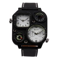 Wholesale Large Compasses - OULM 1169 Fashion Large Dial mensportswatches Imported Double Core Belt Square Watch Mens Quartz Watch Choice from Three Color