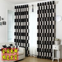 Wholesale Curtain Side Window Sun - 2016 Black and white plaid double faced dodechedron sun-shading fitting room partition door curtain finished product