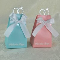 Wholesale Wrap Ribbon Candy Box - Foldable Candy Box Stereo With Silk Ribbon Ring Sweet Case European Style Three Colors Chocolates Organizer Pink Blue 0 3wj B