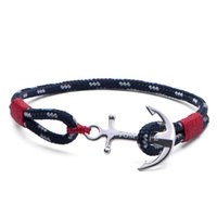 stainless steel anchor bracelet großhandel-1pcs TOM HOPE Armband Atlantic rot Faden Armband Edelstahl Anker Kette Charm Armband mit Box und Tag TH1