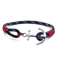 ingrosso braccialetto di fascino rosso dell'ancoraggio-Bracciale TOM HOPE in argento Bracciale con filo rosso Atlantic Bracciale in acciaio con catena di ancoraggio Charm con scatola e etichetta TH1