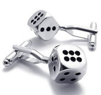 Wholesale Copper Dice - Rhodium Plated Classic Personalized Lucky Dice Shirts Mens Cufflinks Color Silver Black 1 Pair Set Drop Shpping