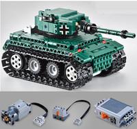 Wholesale Kits Toys Car Control - 26*13*11cm Size 313Pcs 2.4G RC Battle Tank Blocks Kits Toy Bricks Car Model Toys war weapon 1:35 Remote Control Tank #51018