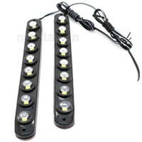 Wholesale 12v Warning Lights - One Pair 8 LED Universal Aluminium 8LED 16W Car Daytime Running Light DRL Fog Warning Bumper Decorative eagle eyes Lamp